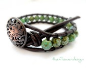 boho brown leather wrap bracelet, shabby chic, single wrap bracelet, spring, 2012, jewelry