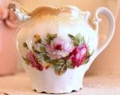 Cottage Chic Vintage Creamer...Pink Roses...Peach Lustre...Lustreware...Vintage...Shabby Chic...Cream Pitcher