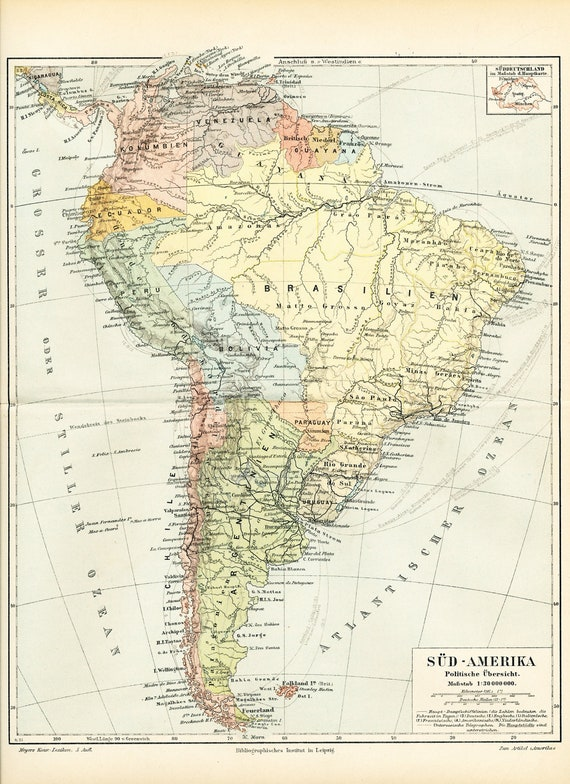 Items Similar To South America Political Map Latin 19th