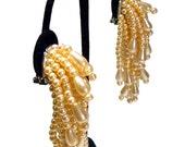 Sale - Pearl earrings, vintage bridal peach blush faux pearl cluster clip-on earrings, chunky statement earrings