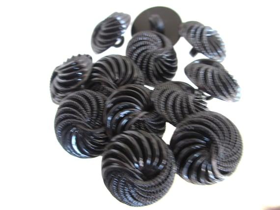 12 Vintage 22 mm Swirl Design Black Tone Plastic  Round Shank Buttons