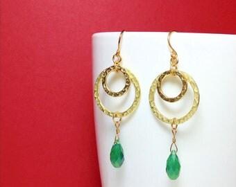 Beautiful Handmade Double Circular Hammered Hoop Earrings with Emerald Swarovski Crystal Teardrops