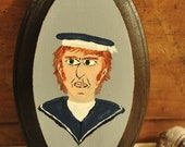 Sailor Portrait Original Painting Wall Art Wood Plaque Folk Art