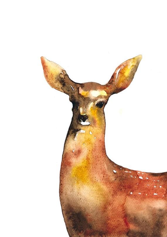 Woodland Wall Decor Deer Watercolor Illustration Print Animal Brown