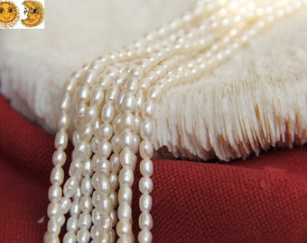 14 inch strand of Freshwater Pearl smooth oval beads,rice beads 4-5 mm