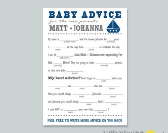 Baby Shower Advice Cards - Mad Libs (Sail Boats)