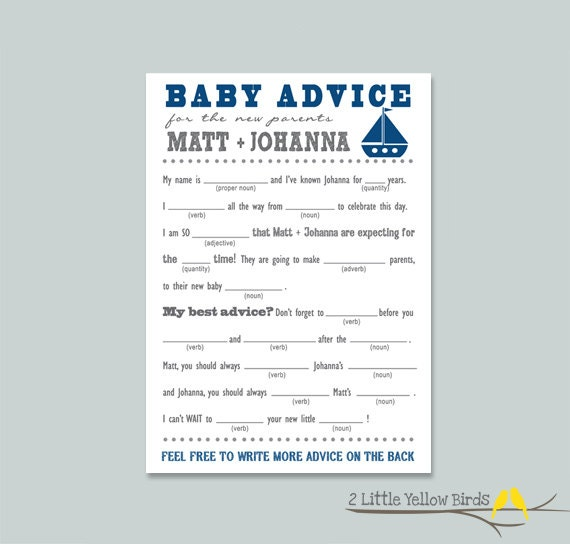 Baby Showers Uk Tips ~ Baby shower advice cards mad libs sail boats