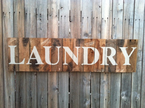 Large Rustic LAUNDRY Sign Made From Recycled Pallet Wood