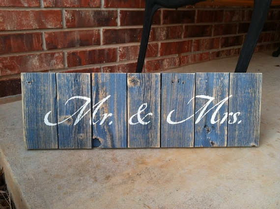 Mr. and Mrs. on recycled fence wood dry brushed blue