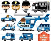 Digital Police Car and Policeman Clip Art ---- Personal and Small Commercial Use ---- BB 0403