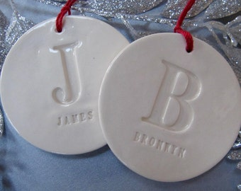 Set of 2 Customized Christmas Ornaments with Names, Gift boxed and Ready To Give