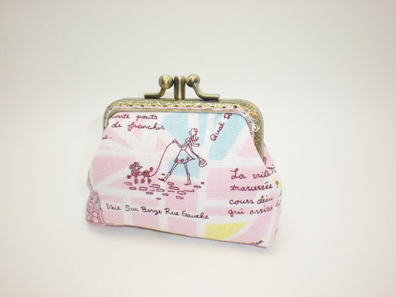 Walk with the poodle in Paris  arc de triomphe  2 layers coin/change pouch/purse/wallet w metal frame