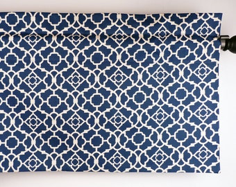 Blue Kitchen Curtain with Geometric Lattice Pattern/ Waverly Fabric (curtain rod not included)