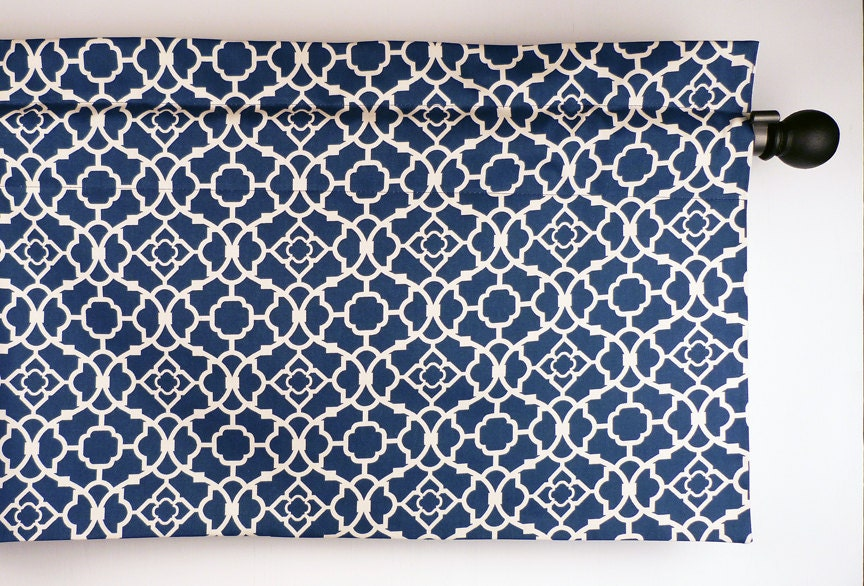 blue kitchen curtain with geometric lattice pattern waverly