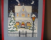Vintage Embroidered Picture, Framed Wall Art, Holiday Decor, Christmas