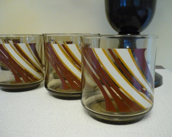 Set of 6 Vintage Smoked Glass Drinking Glasses, Retro Striped Glasses