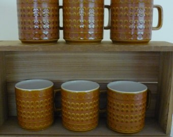 Vintage 1970's Hornsea Saffron Ceramic Mugs, Set of 6, Collectable Pottery
