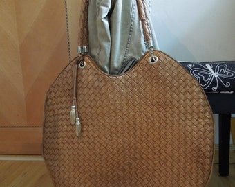 Authentic Vintage BOTTEGA VENETA Large Bronze Woven Leather Bag