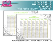 "Editable / Printable Chore Chart Responsibility Chart - 8.5""x11"" PDF - Instant  Download"