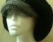 Crochet Black Gray Brimmed Tam Rasta Hat Various Colors Available