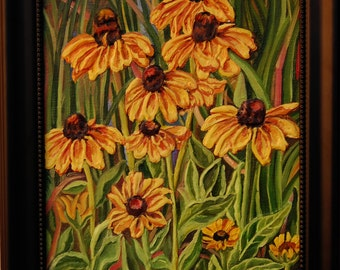ORIGINAL Oil Painting-Coneflowers on lakeside embosed Art by Trupti