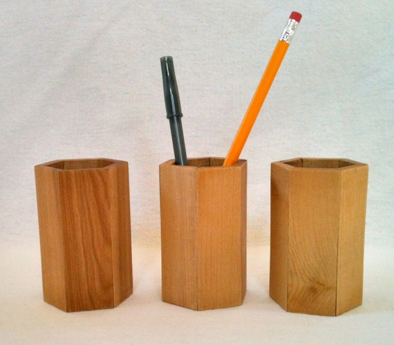 Pens and Pencil Holder Hexagon Style Made From Alder Wood By Father On The Mountain