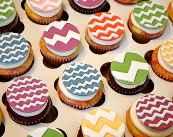 DESIGNER CHEVRON PATTERN -  Fondant Cupcake, and Cookie Toppers - 1 Dozen