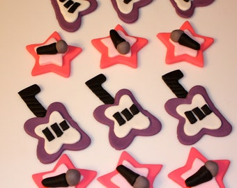 GUITAR ROCK STAR  Music -  Fondant Cupcake, and Cookie Toppers - 1 Dozen