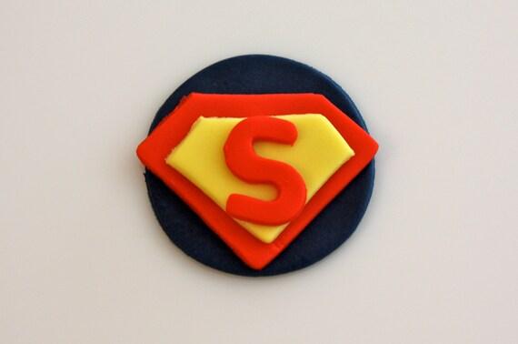 SUPER HERO MAN Logo/Monogram - Fondant Cupcake Toppers - 1 Dozen