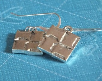 Quilt Jewelry - Sterling Silver Earrings with a knitting, sewing, quilting theme -Spool Block