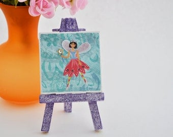 Little Fairy Original Mixed Media Artwork with Easel, Tiny Art, Mini Canvas Art