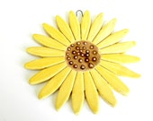 Ceramic Sunflower Wall Decoration Yellow Pottery Ornament Brown Dots - Ceraminic