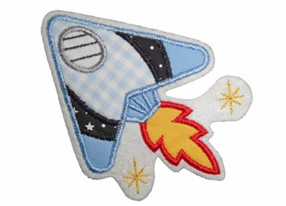 patch SPACESHIP applique - Embroidered iron on patch on stitching felt, cotton fabric, embroidery thread, approx. 8,5x11 cm, blue/yellow