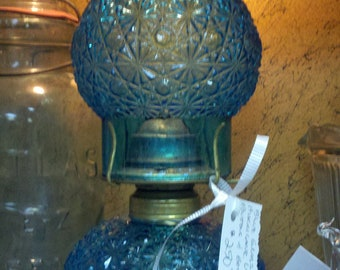 Vintage Blue Glass Hurricane Lamp - Buttons and Bows Style Pattern