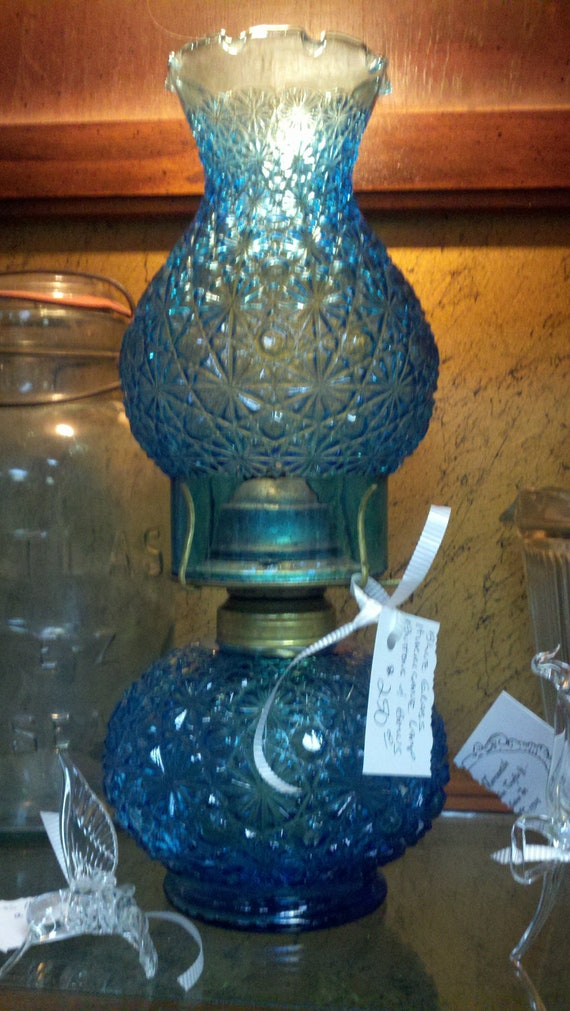 Vintage Blue Glass Hurricane Lamp Buttons And Bows Style