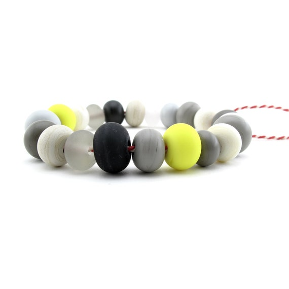 DIY bracelet kit - handmade etched glass beads - earth tone colors with two bright yellow beads