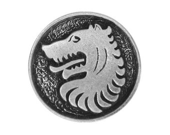 2 Medieval Wolf 1 inch ( 24 mm ) Pewter Metal Buttons Antique Silver Color
