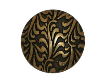 6 Fronds 5/8 inch ( 15 mm ) Metal Buttons Antique Brass Color