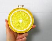 Lemon Embroidery Hoop Art, Painted Burlap, Kitchen Wall Art, Fabric Wall Art, Hand Sewn Textile Art, Mixed Media Painting, Fiber Art