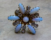 Sale Pending JULIA Fall Winter Blue Opal Sunflower Flower Ring, Czech W. West Germany
