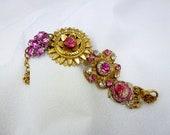 Vintage Bridal Pink Intaglio Rhinestone Bracelet, One of a Kind