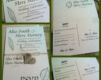 Rustic Wedding Invitations -  Eco-Friendly - Fall Foliage - Green -Hemp Twine - Heart tag - Recycled - Budget Friendly - Perforated RSVP