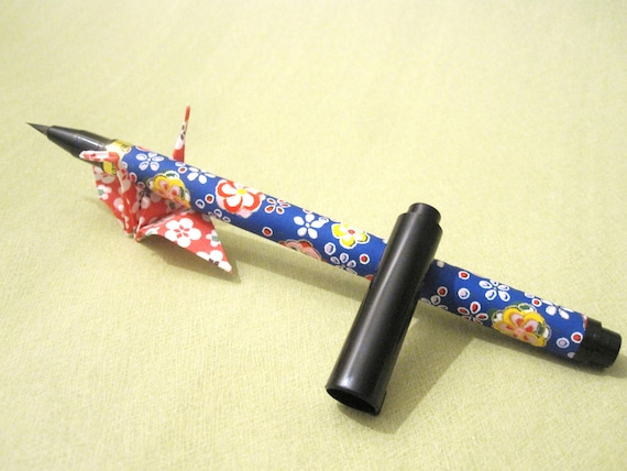 Japanese Brush Fountain Calligraphy Pen Wrapped With Blue