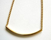 Gold Straw Necklace - Thin Straw Tube on adjustable Gold-Plated Chain