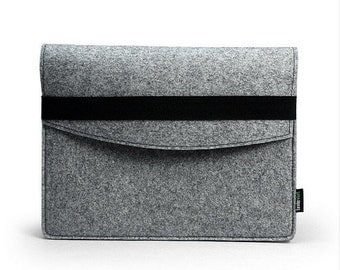 Felt iPad 1 2 3 4 Case New iPad Air Sleeve Bag Cover Wallet Custom Made iPad Holder with Black Elastic Band E1141