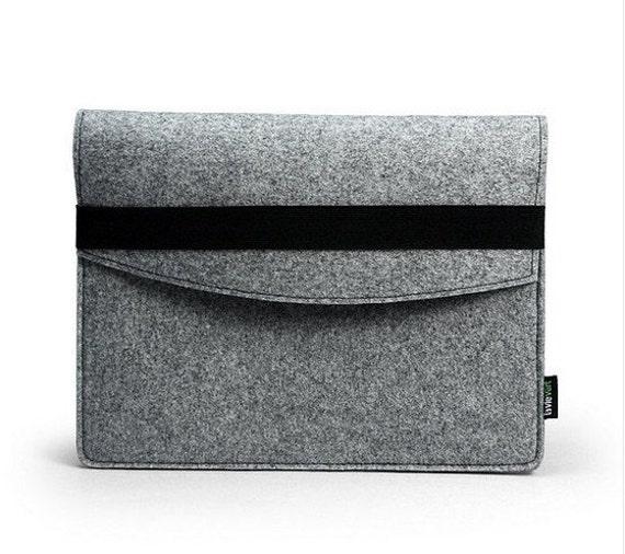 Felt iPad 1 2 3 4 Case New iPad Air Sleeve Bag Cover Wallet Custom Made iPad Holder with Black Elastic Band E1141