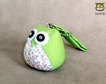 Lawny - the Little Cute Owl Doll with Bag: plush, keychain, children, kid, baby, boy, girl, kid, flower, green, light green, poka dot