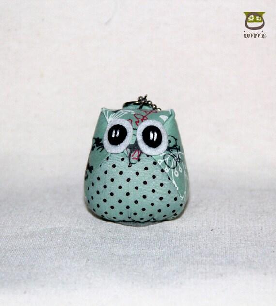 Aqua - Owl Doll with a Bag: owl plush, owl decor, panda, little, mini, kid, blue, teal, turquoise, poka dot, owl decoration, kawaii