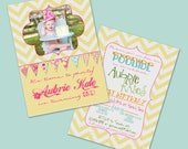 CUSTOM DESIGNED INVITATION - Chevron Pattern and Bunting Flags - Include your own Photo