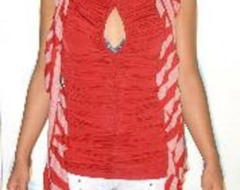 Cherry Candy Cane Striped Ruffle Scarf